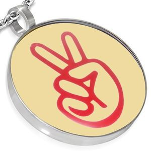 Ocelový kulatý přívěsek - logo peace, ruka