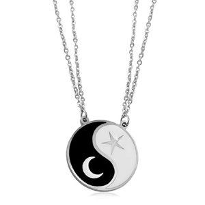 Ocelový náhrdelník, dva řetízky, černobílý symbol Jin a Jang, měsíc a hvězda