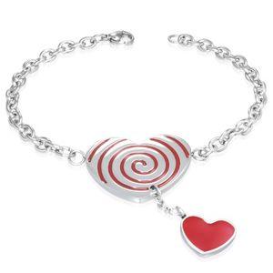 Ocelový náramek - červené srdce se spirálou, řetízek