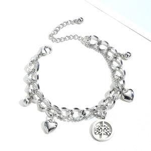 Ocelový náramek - řetěz s přívěskem se stromem života, srdíčky a kuličkami, stříbrná barva