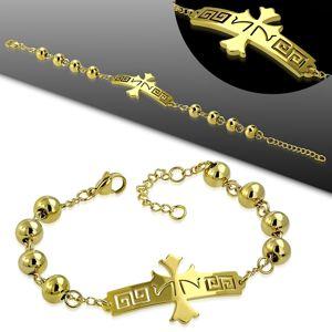 Ocelový náramek ve zlatém odstínu, známka s křížem s řeckým klíčem