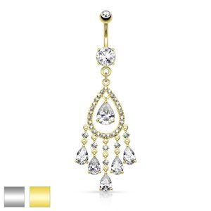 Ocelový piercing do bříška, velký obrys kapky z čirých zirkonů, slzičky - Barva piercing: Zlatá