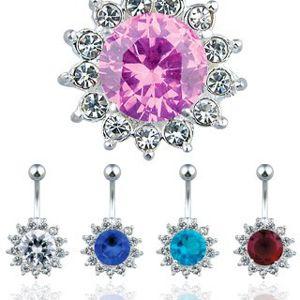 Ocelový piercing do pupíku, barevný zirkonový květ - Barva zirkonu: Čirá - C