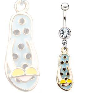 Ocelový piercing do pupíku - modré žabky s brýlemi