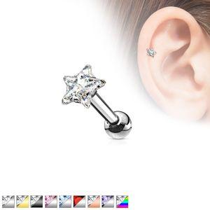 Ocelový piercing do ucha, barevná zirkonová hvězda - Barva zirkonu: Černá - čirá