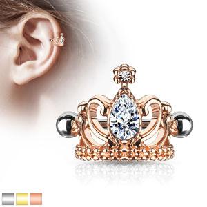 Ocelový piercing do ucha - královská koruna se slzičkou, lesklá činka s kuličkami - Barva: Zlatá