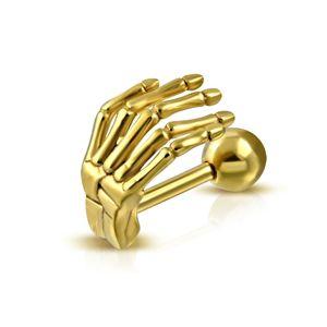 Ocelový piercing do ucha nebo obočí - kostra ruky v lesklém zlatém odstínu
