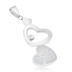 Ocelový přívěsek - hladké a zirkonové srdce, kontura srdce