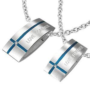 Ocelový přívěsek LOVE FOREVER pro dva - obdélník, kříž