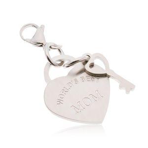 Ocelový přívěsek na klíčenku, srdce s klíčem a nápisem WORLD´S BEST MOM