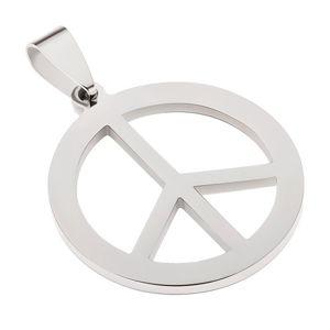 Ocelový přívěsek stříbrné barvy, znak míru
