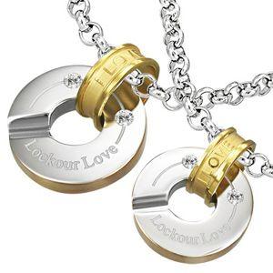 Ocelový přívěsek uzamčené kruhy lásky