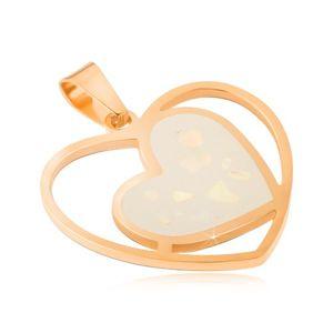 Ocelový přívěsek zlaté barvy, bílé perleťové srdce v obrysu srdce