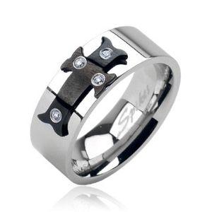 Ocelový prsten černý kříž, zirkony - Velikost: 71
