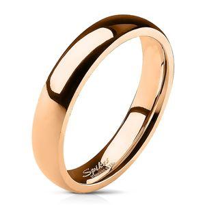 Ocelový prsten, měděný odstín, zrcadlový lesk, vypouklý povrch, 4 mm - Velikost: 51
