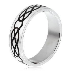 Ocelový prsten - obroučka stříbrné barvy, vzor ze slz a kosočtverců - Velikost: 67