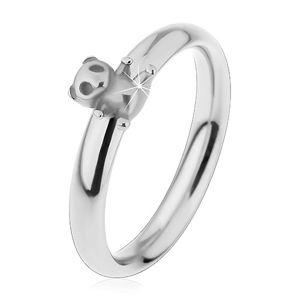 Ocelový prsten pro děti, stříbrný odstín, malý méďa, jemně vypouklá ramena - Velikost: 49