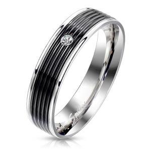 Ocelový prsten s černým pásem - kulatý zirkon čiré barvy, lesklé okrajové linie, 6 mm - Velikost: 70
