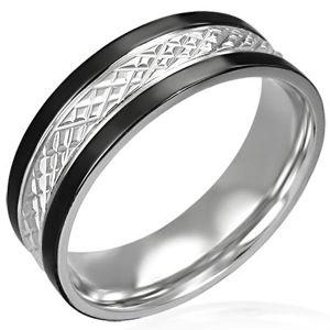 Ocelový prsten s černými pásy po okrajích - Velikost: 64