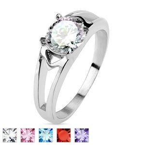 Ocelový prsten s ozdobnými výřezy a zirkonem - Velikost: 59, Barva: Čirá