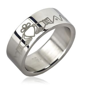 Ocelový prsten - srdce v rukách, zoubky, řetízek - Velikost: 52