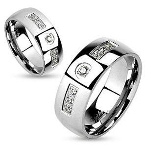 Ocelový prsten, stříbrná barva, lesklá hladká ramena, čiré zirkonky - Velikost: 70