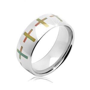 Ocelový prsten stříbrné barvy, duhové kříže po obvodu, 6 mm - Velikost: 55