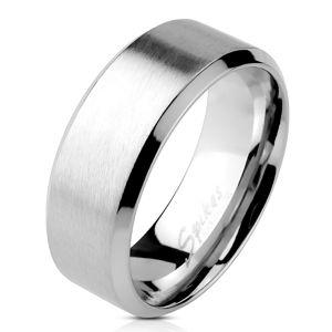 Ocelový prsten stříbrné barvy - matný proužek uprostřed, lesklé linie na okrajích, 4 mm - Velikost: 54