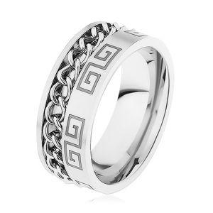 Ocelový prsten stříbrné barvy, zářez s řetízkem, řecký klíč - Velikost: 67