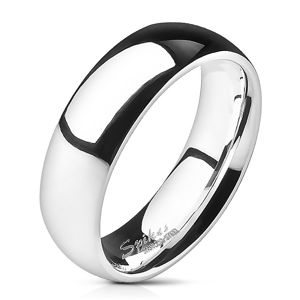 Ocelový prsten - stříbrný, hladký, lesklý, 6 mm - Velikost: 49