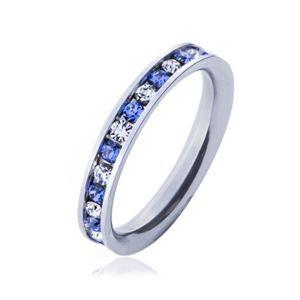 Ocelový prsten - světle modré a čiré kamínky - Velikost: 55