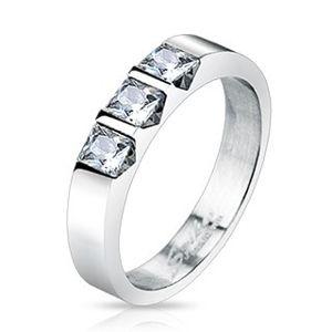 Ocelový prsten - tři čiré čtvercové zirkony - Velikost: 57