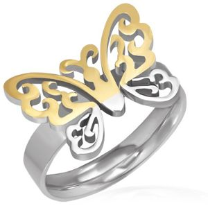 Ocelový prsten - vyřezávaný zlato-stříbrný motýl - Velikost: 52