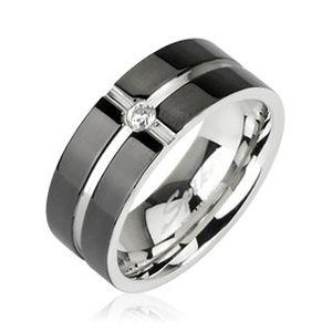 Ocelový prsten - vzor kříž, zirkon uprostřed - Velikost: 57