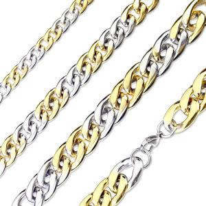 Ocelový řetízek ve stříbrno-zlatém barevném provedení - mírně zkosená lesklá očka, 15 mm