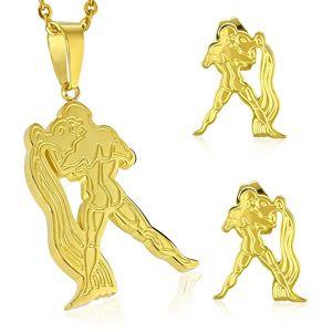 Ocelový set zlaté barvy - přívěsek a puzetové náušnice, znamení VODNÁŘ