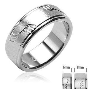 Ocelový snubní prsten matný s vlnkami a lesklými okraji - Velikost: 54