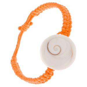 Oranžový šňůrkový pletenec s kruhovou imitací lastury
