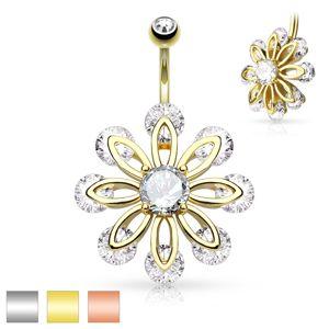Piercing do bříška z chirurgické oceli, velký květ zdobený čirými zirkony - Barva piercing: Zlatá
