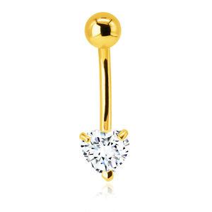 Piercing do bříška ze 14K zlata - blýskavý zirkon ve tvaru srdce v čirém odstínu