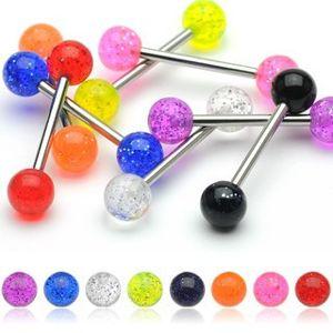Piercing do jazyka, barevné kuličky se třpytkami - Barva piercing: Světlá Modrá