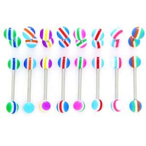 Piercing do jazyka - barevné pruhy - Barva piercing: Modrá - Oranžová - Světlemodrá