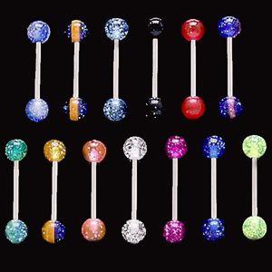 Piercing do jazyka třpytivá kulička - Barva piercing: Modrá