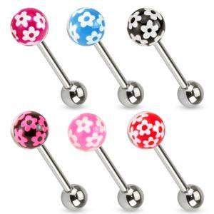 Piercing do jazyku z chirurgické oceli, barevná kulička s kvítky - Barva piercing: Růžová