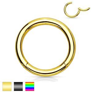 Piercing do nosu a ucha, chirurgická ocel, jednoduchý lesklý kroužek, 2 mm - Barva piercing: Zlatá