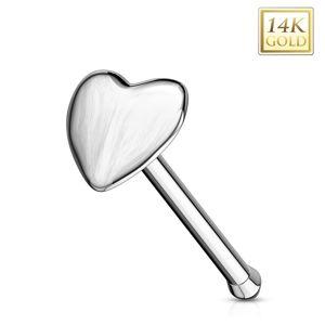 Piercing do nosu v bílém 14K zlatě - rovný tvar, vypouklé srdíčko