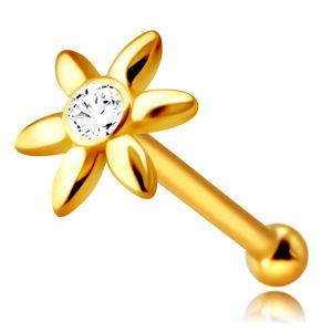 Piercing do nosu ve žlutém 14K zlatě - kvítek s čirým zirkonem, dlouhé okvětní lístky