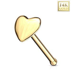 Piercing do nosu ve žlutém 14K zlatě - rovný tvar, vypouklé srdíčko