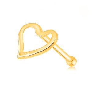 Piercing do nosu ve žlutém zlatě 585 - lesklá kontura nepravidelného srdíčka