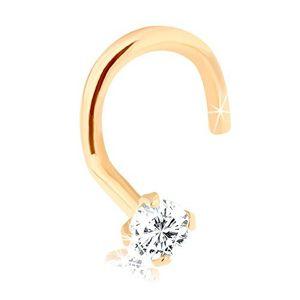 Piercing do nosu z 9K zlata, zahnutý, s blýskavým diamantem, 1,5 mm